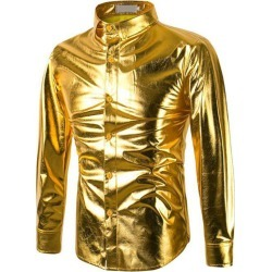 Fashion Casual Solid Color Gilding Stage Dance Costume Dress Shirts for Men