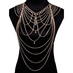 48ab040bd6 Artificial Pearl Rhinestone Layered Body Chain found on MODAPINS from  rosegal for USD  10.47
