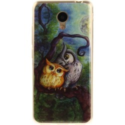 Oil Painting Owl Soft Clear IMD TPU Phone Casing Mobile Smart Cover Shell Case for Meizu M5c / 5C / A5 Charm Blue A5