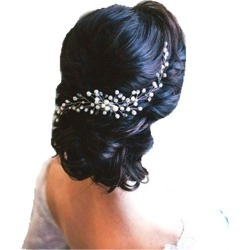 Silver Plated Full Pealr Hair Comb Hair Jewelry for Wedding Bride Women