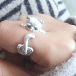 Cute Kitten Tiny Finger Ring