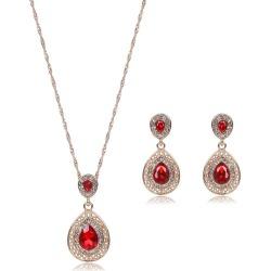 Faux Ruby Teardrop Jewelry Set