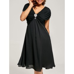 Plus Size Ruched Cap Sleeve Chiffon Dress