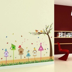 DSU Fence Bird and Tree Home Pattern Wall Sticker Kids Room Living Room Decor