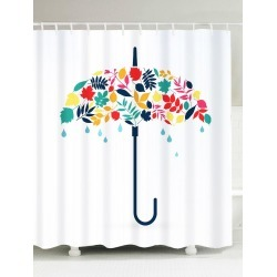 Umbrella Leaf Print Waterproof Shower Curtain