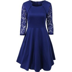 Women's Elegant Summer Lace Sleeve Tunic Pin Up Vintage Work Office Casual Party A Line Cocktail Swing Plus Size Dress