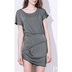 Short Sleeve Asymmetrical T Shirt Dress