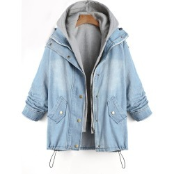 Denim Two Piece Plus Size Coat