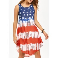 American Flag Print Tank Chiffon Dress