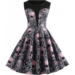 Skull and Floral Print Vintage A Line Dress found on MODAPINS from Rosewholesale.com for USD $19.05