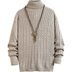 Solid Color Cable Knitted Turtleneck Sweater
