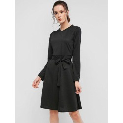 Ribbed Long Sleeve Belted A Line Dress