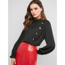 Keyhole Back Mock Button Crew Neck Blouse