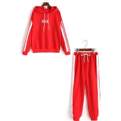 Ribbons Trim Letter Hoodie and Gym Pants Set