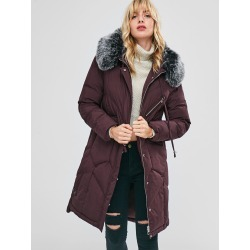Faux Fur Hood Padded Parka Coat found on MODAPINS from Zaful for USD $48.94