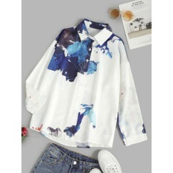 Ink Painting Drop Shoulder Button Up Shirt found on MODAPINS from Zaful for USD $19.99