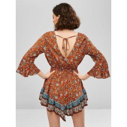 ZAFUL Flare Sleeve Paisley Flounce Backless Dress