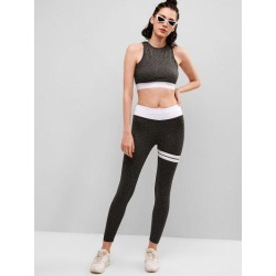 Space Dye Cut Out Gym Top and Leggings Set