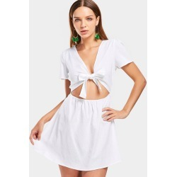 Cut Out Bow TieS A Line Mini Dress