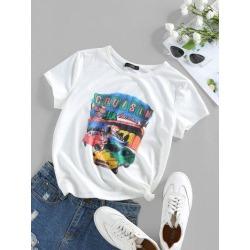 ZAFUL Car Letter Print Graphic T Shirt
