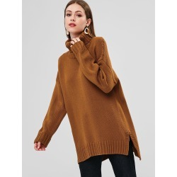 Turtleneck High Low Sweater found on MODAPINS from Zaful for USD $33.99