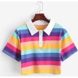 Rainbow Striped Half Button Crop Tee