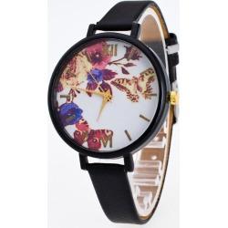 Faux Leather Flower Butterfly Wrist Watch