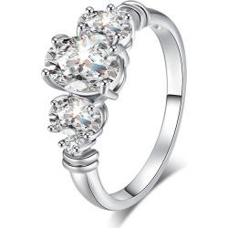 Oval Zircon Embellished Metal Ring