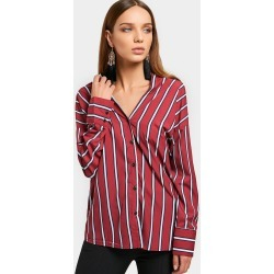 Striped Button Up V Neck Shirt