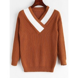 Contrast Surplice V Neck Sweater found on MODAPINS from Zaful for USD $22.17