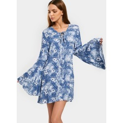 Flare Sleeve Floral Mini A Line Dress found on MODAPINS from Zaful for USD $18.79