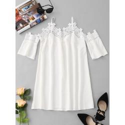 Cold Shoulder Lace Insert Mini Dress