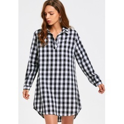 Long Sleeve Checked Casual Shirt Dress found on MODAPINS from Zaful for USD $11.99