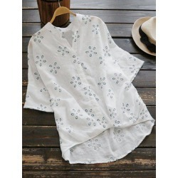 Embroidered Linen High Low Blouse
