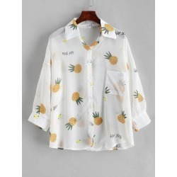 Button Down See Thru Pineapple Cover Up Top
