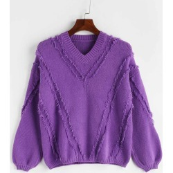 Ribbed Panel V Neck Sweater found on MODAPINS from Zaful for USD $21.02