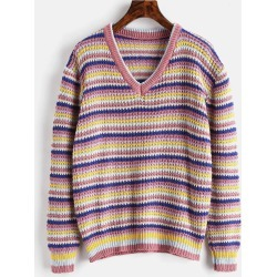 Loose Stripes V Neck Sweater found on MODAPINS from Zaful for USD $22.31