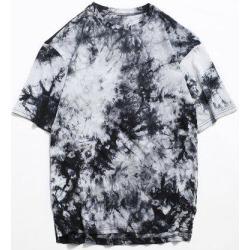 Tie Dye Side Slit Casual High Low T Shirt