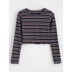 Crop Knit Striped Tee