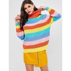 Rainbow Turtleneck Raglan Sleeve Sweater