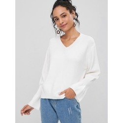 Ruffled Sleeve V Neck Sweater found on MODAPINS from Zaful for USD $20.92
