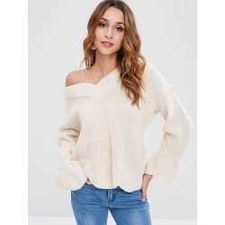 Bell Sleeve V Neck Sweater found on MODAPINS from Zaful for USD $17.99