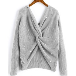 V Neck Twist Pearly Sweater found on MODAPINS from Zaful for USD $16.99
