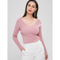 Ribbed V Neck Sweater found on MODAPINS from Zaful for USD $19.47