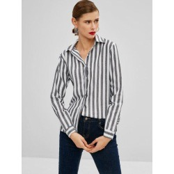 Striped Button Up High Low Shirt