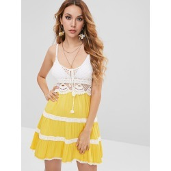 Crochet Panel Cami Beach Dress found on MODAPINS from Zaful for USD $14.88
