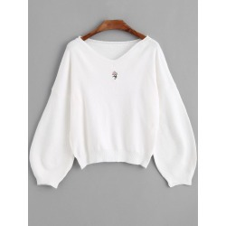 Embroidered V Neck Sweater