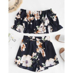 ZAFUL Cropped Floral Off Shoulder Top And Shorts Set