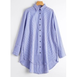Striped High Low Loose Shirt