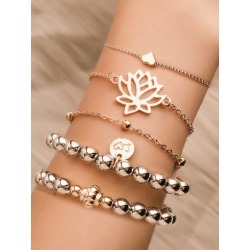 5Pcs Hollow Lotus Heart Beaded Bracelet Set found on Bargain Bro India from Zaful for $3.70